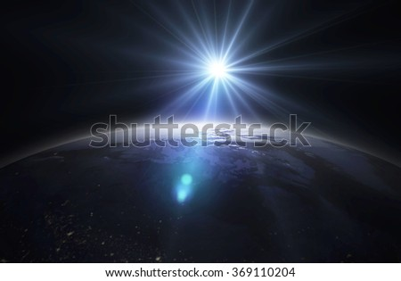 Dark mood earth from space - stock photo