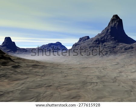 Dark mountains poster image, a  beautiful landscape with soft atmosphere in the black rocks, there are a few clouds in the sky and fine mist on the ground. - stock photo