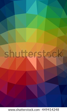 Dark multicolor polygonal illustration, which consist of triangles. Triangular design for your business. Geometric background in Origami style with gradient.