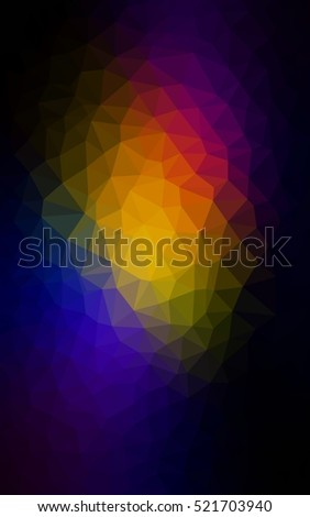 Dark multicolor polygonal illustration, which consist of triangles. Triangular pattern for your business design. Geometric background in Origami style with gradient.
