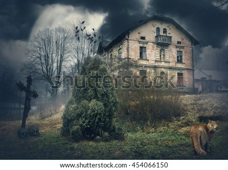 Dark mysterious Halloween landscape with old abandoned house - stock photo