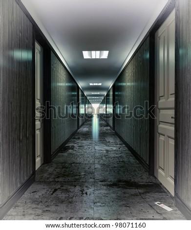 Dark, mystical  corridor  illustration concept - stock photo