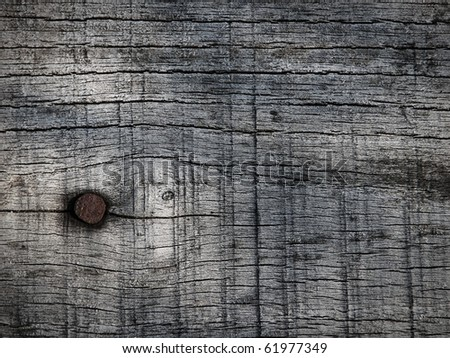 Dark natural wood texture with a nail - stock photo