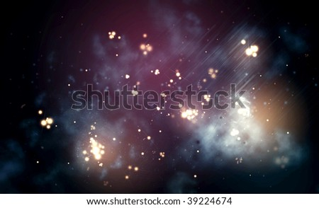 Dark nebula landscape from the space. - stock photo