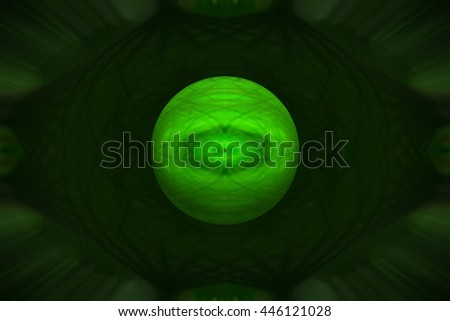Dark neon green 3d Illustration looks like a planet floating in the black abyss It is a twirl twist spin unique design pattern background backdrop round circle  - stock photo