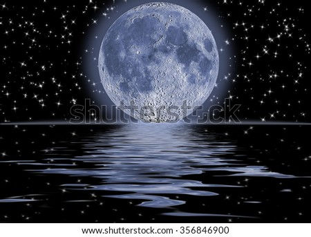 Dark night full moon over water - stock photo