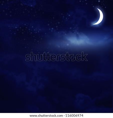 Dark night sky with bright stars on background - stock photo
