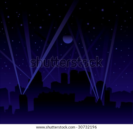 Dark night with large moon and stars with searchlight and city skyline - stock photo