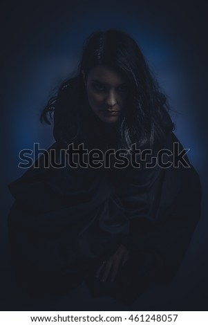 Dark nude brunette woman with black cloth