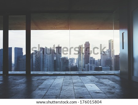 Dark office interior - stock photo