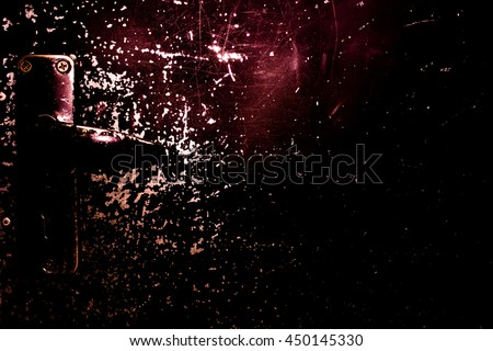 Dark old scary rusty rough golden and copper metal door for Halloween or scary poster - stock photo