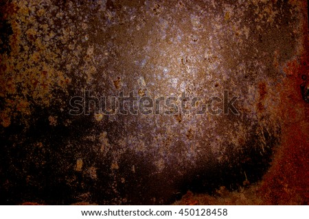 Dark old scary rusty rough golden and copper metal surface texture/background for Halloween or haunted house games background/texture of wall or things - stock photo