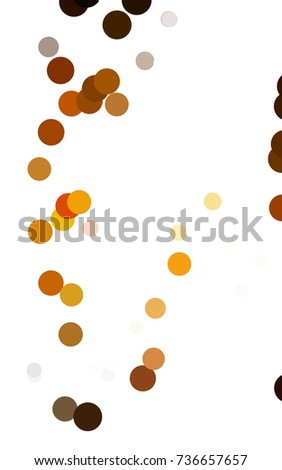 Dark Orange banner with circles, spheres. Abstract spots. Background of Art bubbles in halftone style with colored gradient.