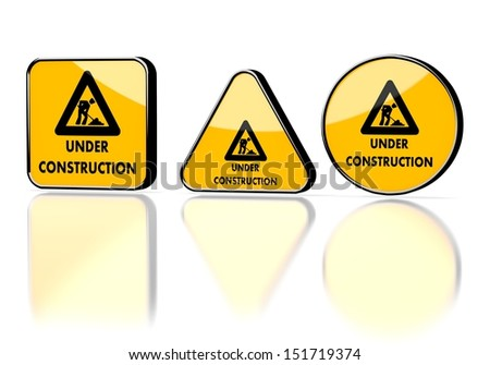 Dark orange  caution button 3d graphic with warning under construction symbol on three warning signs