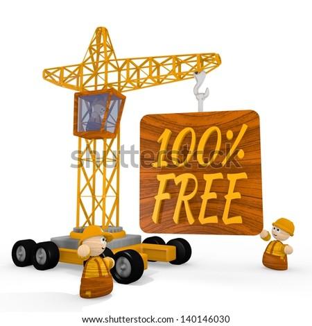 Dark orange  childish free download 3d graphic with childish free symbol with a crane - stock photo