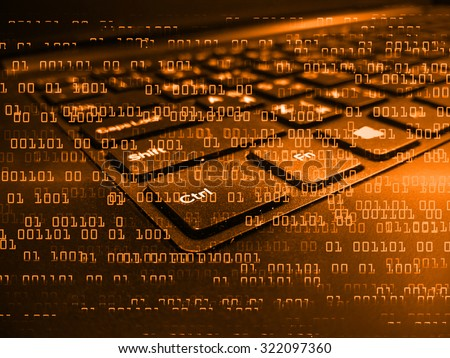 dark orange color Light Abstract Technology background for computer graphic website internet circuit. illustration. infographics. binary code background. www. Spark. motion move blur. one zero - stock photo