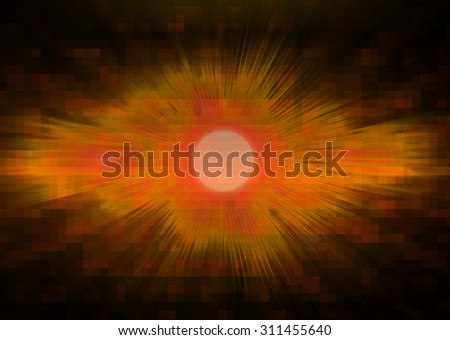 dark orange illustration of technology internet network computer background with binary number, style background. infographics. Information. ray. wave. pixel - stock photo