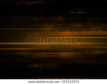 dark orange illustration of technology internet network computer background with binary number, style background. infographics. Information. motion blur. pixel. text box. motion move zoom blur - stock photo