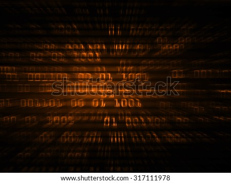 dark orange illustration of technology internet network computer background with binary number, style background. infographics. Information. motion blur. pixel. Binary digit - stock photo
