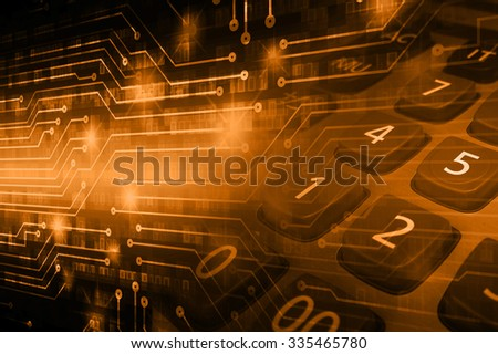 dark orange illustration of technology internet network computer background with binary number, style background. infographics. Information. motion blur. pixel. Binary digit. number - stock photo