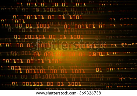dark orange illustration of technology internet network computer background with binary number, style background. infographics. Information. move motion blur. pixel