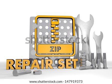 Dark orange  isolated gearbox 3d graphic with isolated zip file sign repair set
