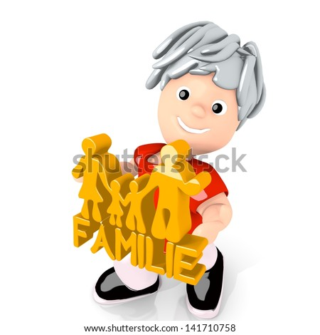 Dark orange  little German 3d graphic with presenting family  in german symbol  carried by a cute boy - stock photo