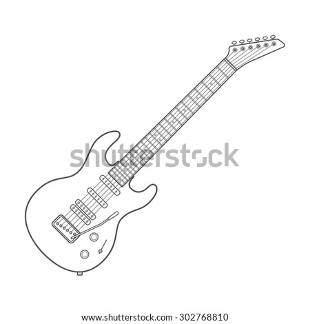 dark outline design white electric guitar illustration with shadows