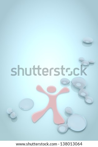 Dark pastel blue  fluid modern 3d graphic with buff happy character icon