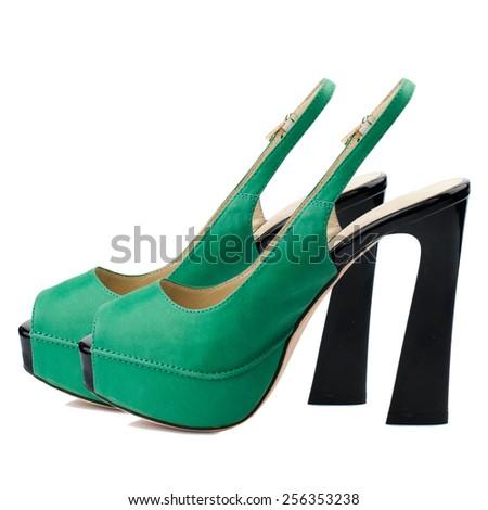 Dark pastel green women shoes isolated on white background. - stock photo