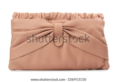 Dark peach clutch isolated on white background. - stock photo