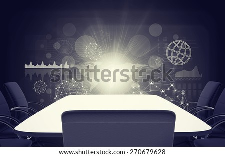 Dark picture with empty table and chairs on abstract background with graphical charts