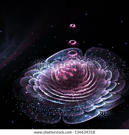 Dark pink fractal flower with pollen, digital artwork for creative graphic design - stock photo