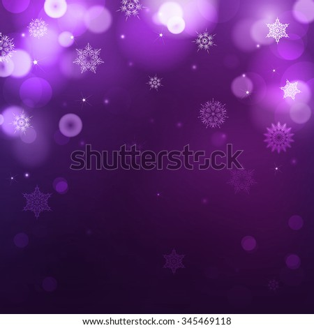 Dark purple blur background for christmas with snowflakes. Holiday abstract background with bokeh. Can be use for new year, christmas or night party - stock photo