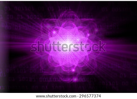 dark purple color Light Abstract Technology background for computer graphic website internet.circuit. illustration.Nuclear,proton,neutron,nucleus. atom. molecular.Spark ray beam aura. one zero - stock photo