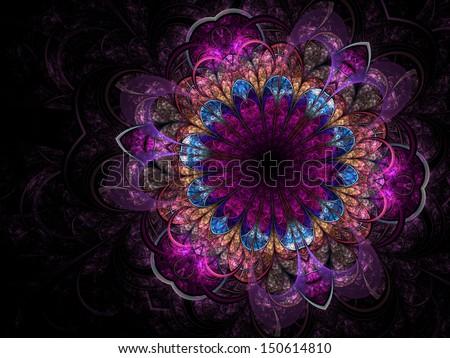 Dark purple fractal flower, digital artwork for creative graphic design - stock photo