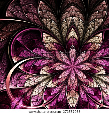 Dark purple fractal flower, digital artwork for creative graphic design