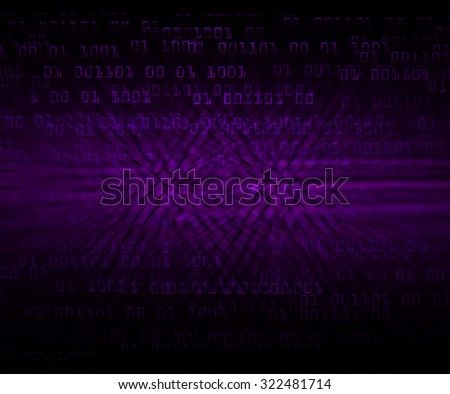 dark purple illustration of technology internet network computer background with binary number, style background. infographics. Information. motion blur. pixel. Binary digit - stock photo