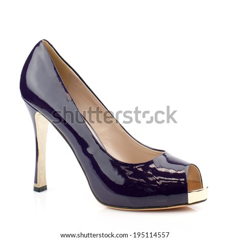 Dark purple  patent leather  high heel women shoe isolated on white background.