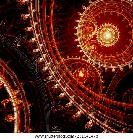 Dark red abstract fractal steampunk background - stock photo