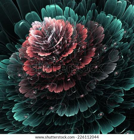 Dark red and green fractal flower, digital artwork for creative graphic design - stock photo