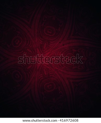 Dark red background with decorative floral pattern.