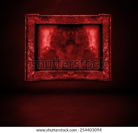 dark red bloody wall with frame and floor interior background - stock photo