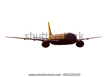 Dark red / burgundy wide-body passenger aircraft - stock photo