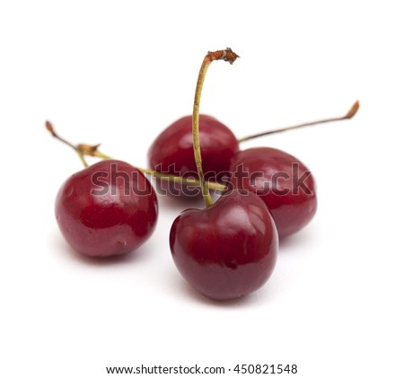 dark red cherry isolated on white background - stock photo