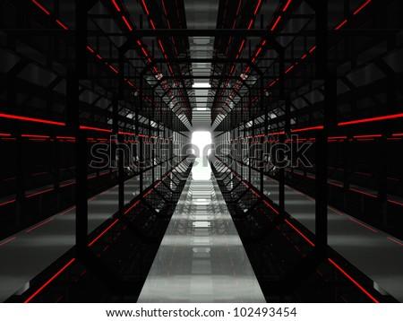 Dark red futuristic tunnel - stock photo