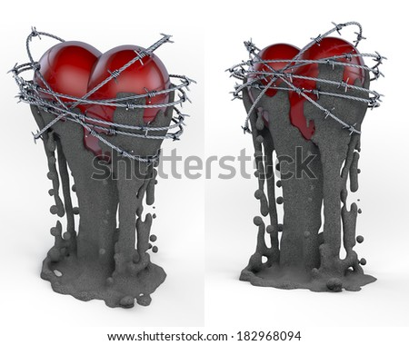 Dark red, glossy heart surrounded by barbwire rings with muddy, dirty fluid running, dripping down, goblet, cup like shape, 3d rendering on white background, two views - stock photo