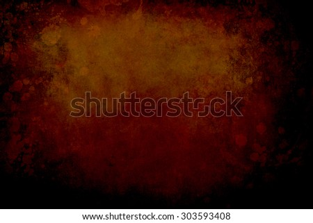 dark red grungy background with stains and black vignette border - stock photo