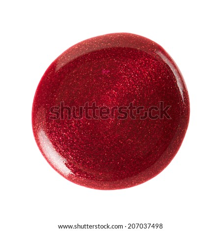 Dark red nail polish blot isolated on white, clipping path included - stock photo