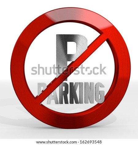 Dark red  posh metal 3d graphic with forbidden parking sign not allowed - stock photo